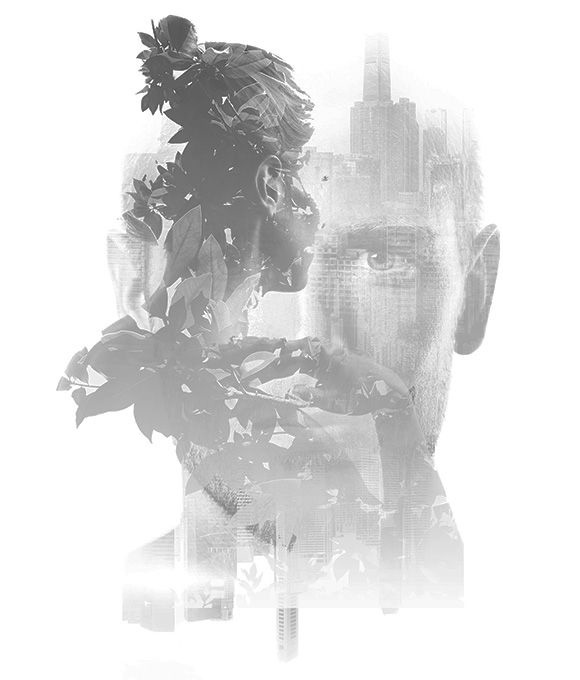 Double exposure image of man and woman